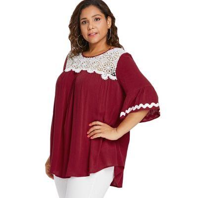 845c8a6d63a632 Plus Size Lace Trim Bell Sleeve Bl (end 11/22/2021 12:00 AM)