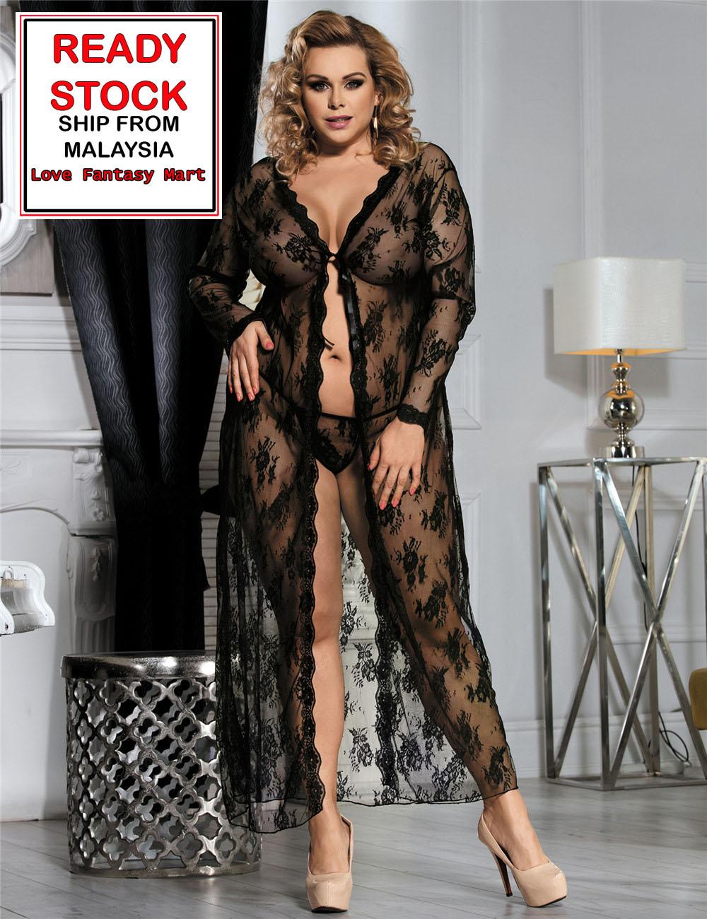53a7b5bb6ec Plus Size Lingerie Sexy Robe Long Dress Sleepwear (Black) - XL  2XL