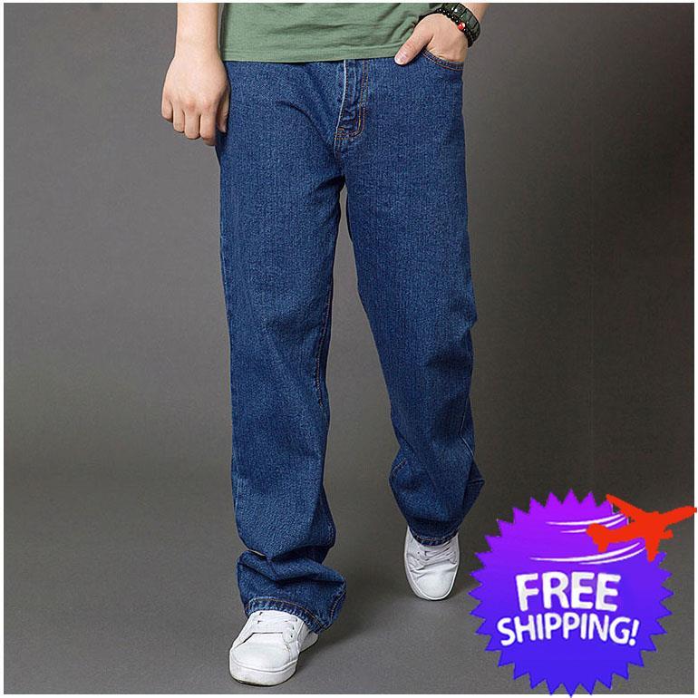 Plus Size Men Straight Cut Long Trouser Thick Denim Jeans