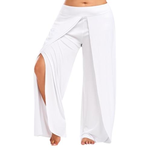 modern design unbeatable price luxury PLUS SIZE PALAZZO PANTS WITH HIGH SPLIT (WHITE)