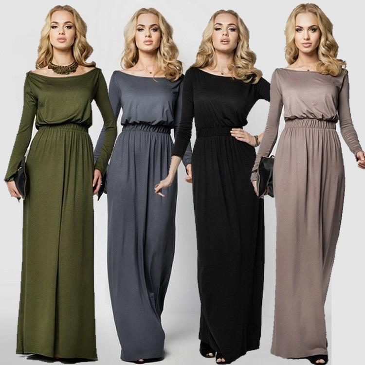 Plus Size S-XL Women off Shoulder long dress Ladies evening dresses