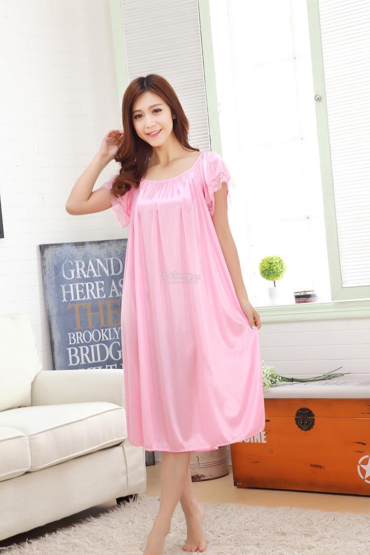 f9496d5dc7521b Plus Size Satin Short Sleeve Ice Silk Nightdress Sleepwear 9 Colours S