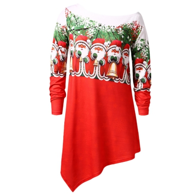 6052a21013d6f Plus Size Skew Neck Santa Claus Print Asymmetric Christmas T-shirt (LAVA  RED)