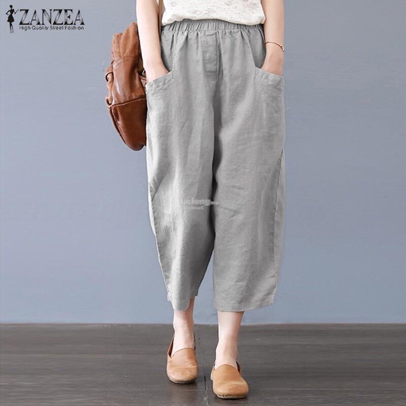 a541156b4a Plus Size Women Crop Capri Cotton Trousers Pants 5XL Grey. ‹ ›