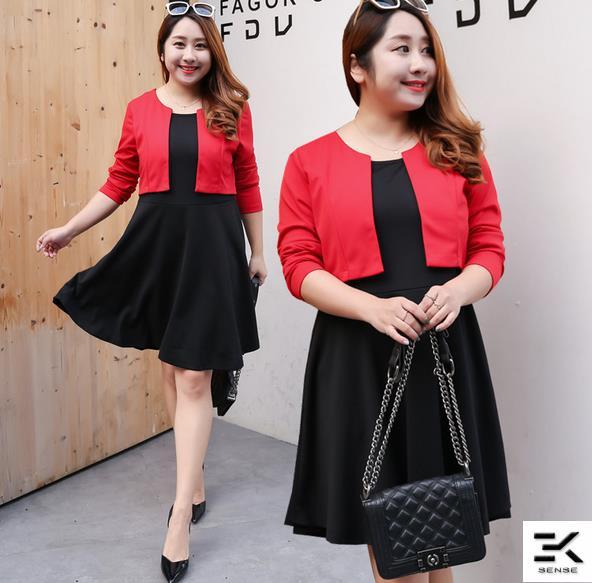Plus Size Women Elegant Office Dress 1165