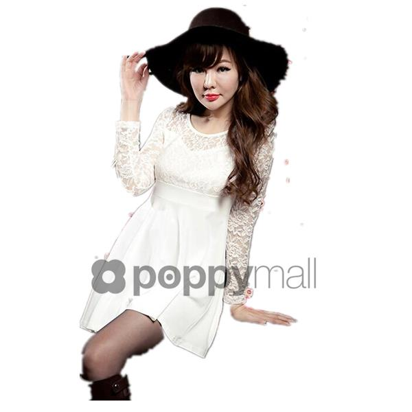 [PM-1620-5684-FS] Woman Sexy Elegant Korean Pretty Lace Dress White