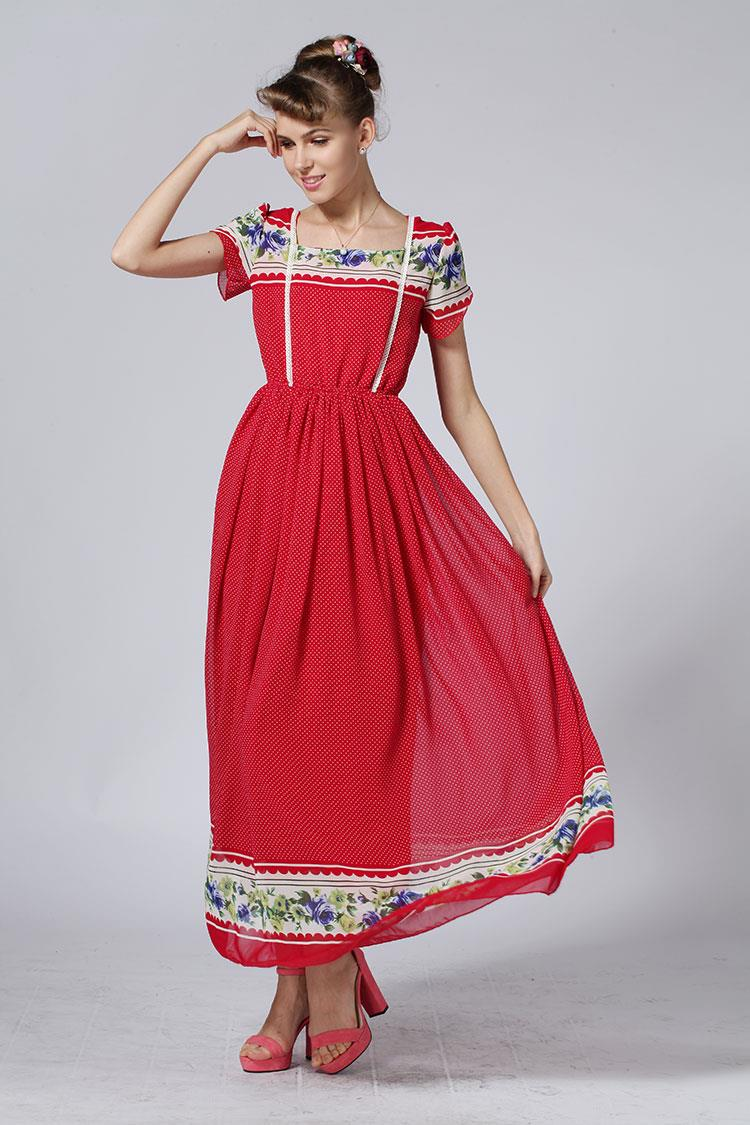 [PM-401-4477] Fashion Elegant Woman Casual Wear Dress Red