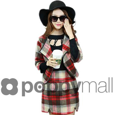[PM17-133-6472] Checker Cardigan and Skirt Almond (1 Set)