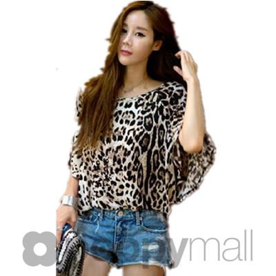 [PM17-280-7175] Leopard Print Top As Picture