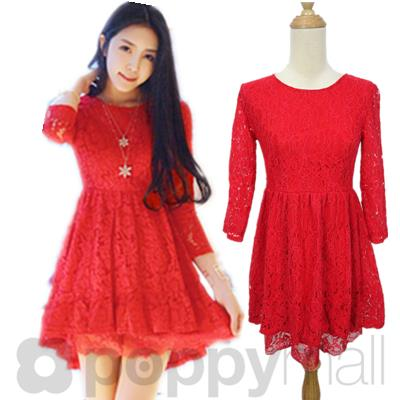 [PM17-294-7080] Sweet Lace Dress Red