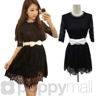[PM17-295-7017] Sweet Lace Dress Black