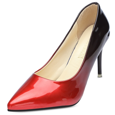 e91d6f1579f Pointed Toe Stiletto Heel Slip-on Gradient Color Women Shoes (RED)
