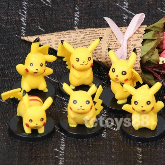 Pokemon Go Figure. Pikachu Pokemon Toy. Cake Topper. 6pcs Set.