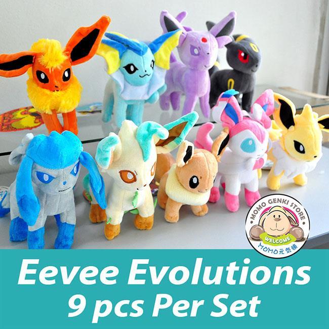 Pokemon Go Pikachu Eevee Evolution Soft Plush Toy Doll 9pcs Set 25cm