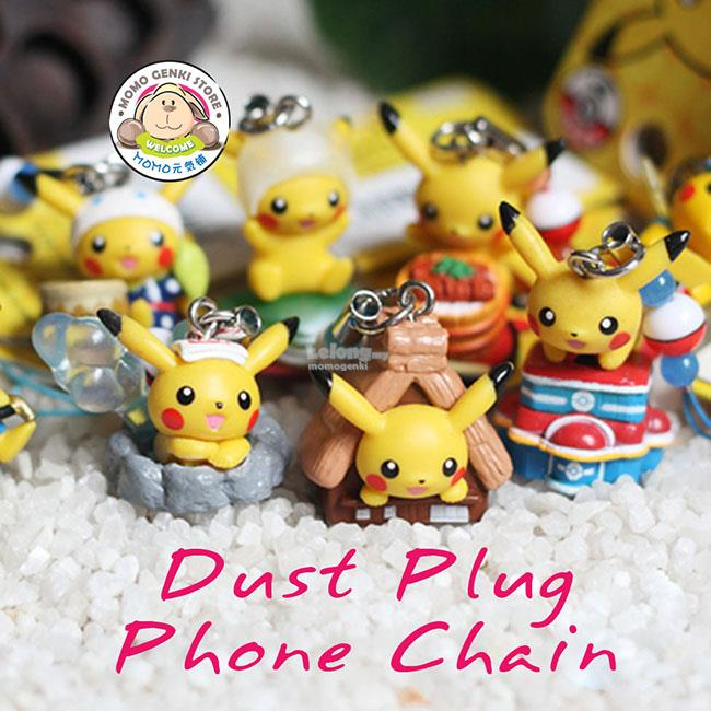 Pokemon Pikachu Eevee Oshawott Meowth Phone Chain Figures Dust Plug