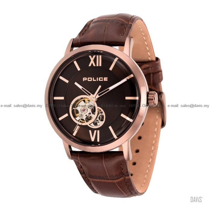 POLICE Timepiece PL.14915JSBN/12 Insignia auto skeleton leather brown
