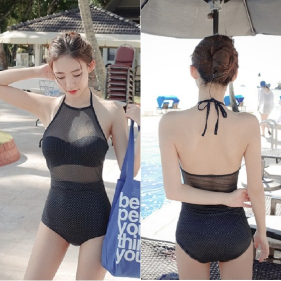 8861fc69eb POLKA DOTS Korean Style Neat Mesh Polka Dots Bikini Swimwear