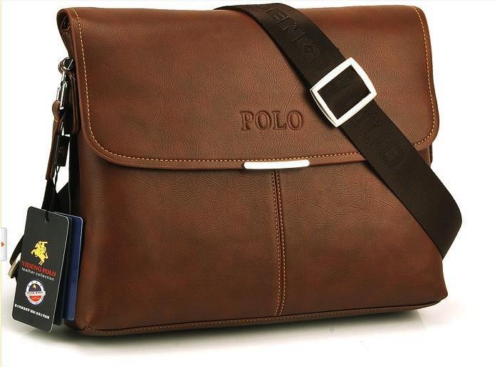 56243aa49a Polo Men Brown Shoulder Bag Handbag Composite Leather Casual Bag. ‹ ›