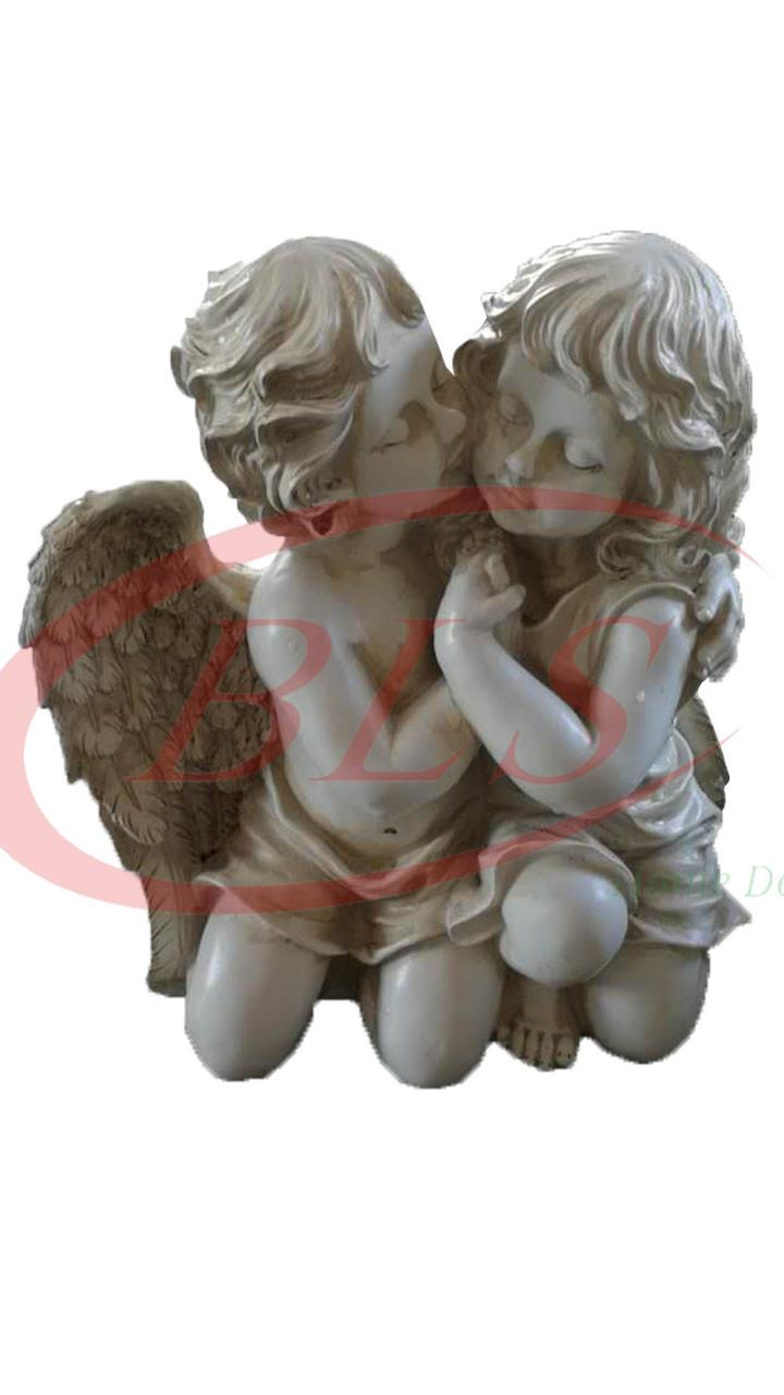 POLYRESIN CREAM WHITE COLOR TWIN ANGEL H 39 CM CM WITH WINGS (520)