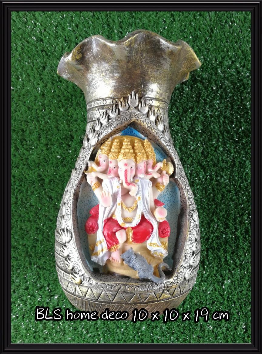 POLYRESIN INDIA GANESHA STATUE VASE 991A HOME GARDEN DECORATION GIFTS