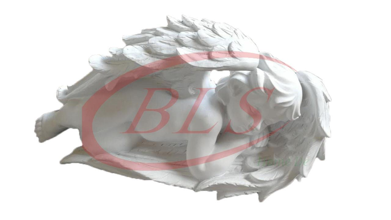 POLYRESIN WHITE COLOR SLEPPING ANGEL H 15 CM CM WITH WINGS (Q701)