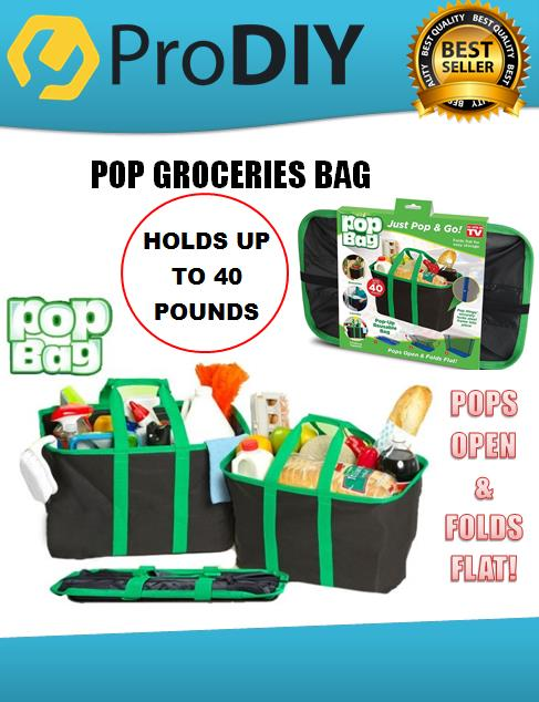 POP-UP REUSABLE BAG, GROCERIES BAG, HEAVY HOLDS UP TO 40 POUNDS (18KG)