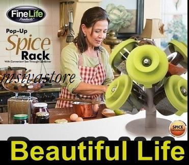 Pop-up Spice Rack with 6 Spice Containers for Quick, Easy Storage