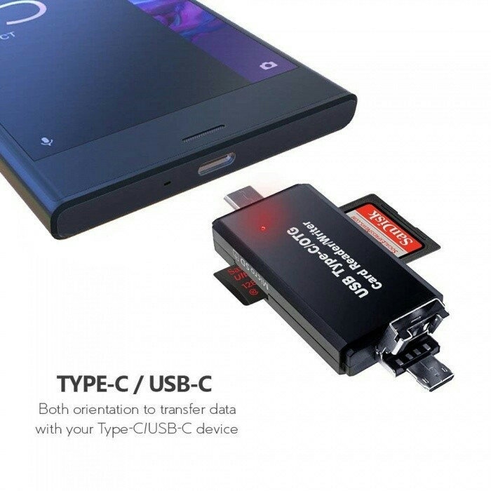 POPULAR USB Type C Micro USB OTG Adapter Memory SD, Micro SD Card Read