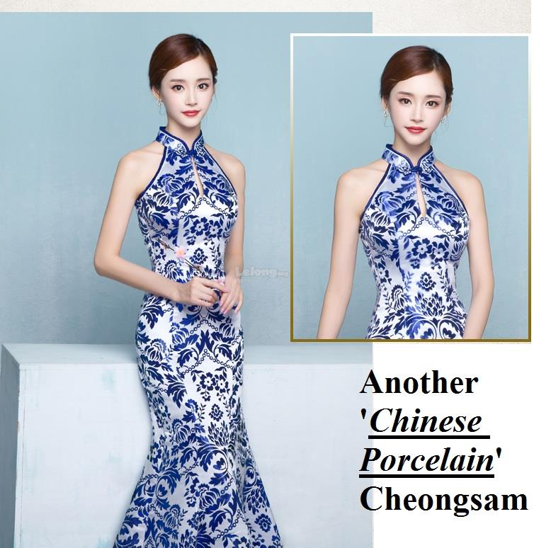 Porcelain Sleeveless Long Cheongsam for women