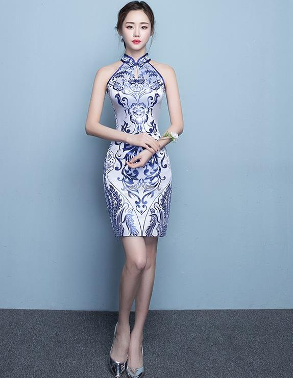 Porcelain Sleeveless Short Cheongsam for women