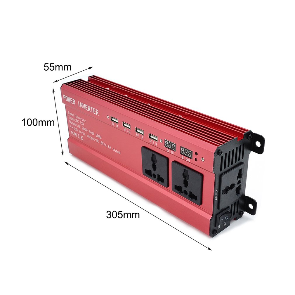 Portable 2000W Power Car Inverter with LCD Display 12V-220V 4 USB Port..