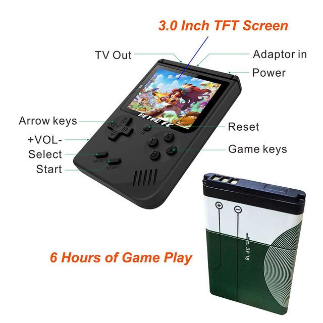 Portable 8 Bit Retro Digital Game System 30 Inch With 168 Mini Games