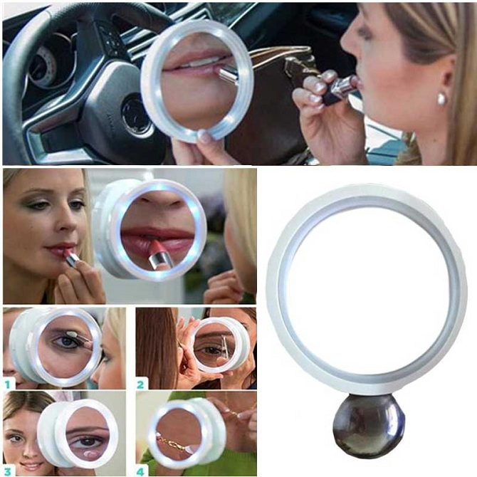 Portable 8x Magnifying Glass Led Makeup Mirror