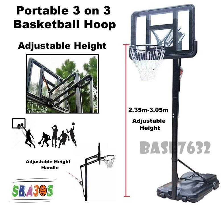Portable  Adjustable Height Basketball Hoop 3 on 3 Stand
