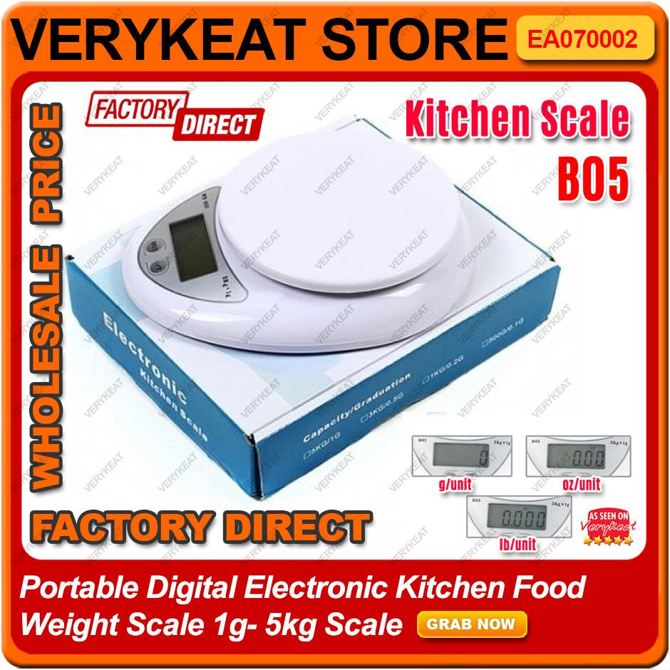 Portable Digital Electronic Kitchen Food Weight Scale 1g-5kg Scale B05
