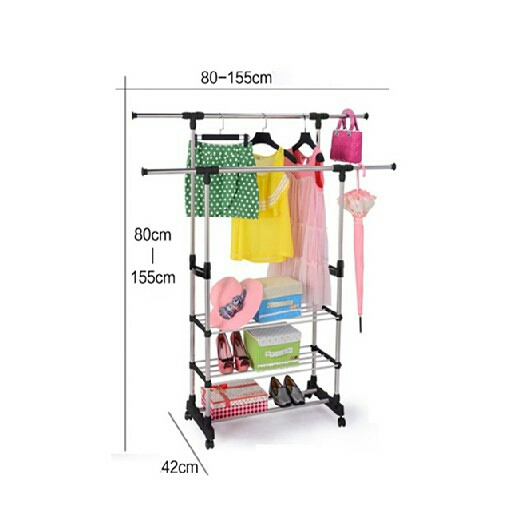 Portable Double Pole Clothes Hanging Rack Stand Adjule Height