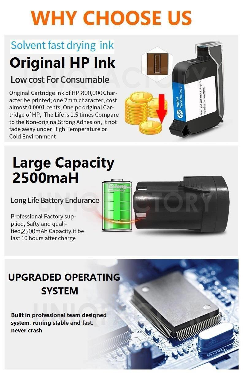 Portable Handheld Inkjet Printer Ink Expiry Date Coder Code Machine