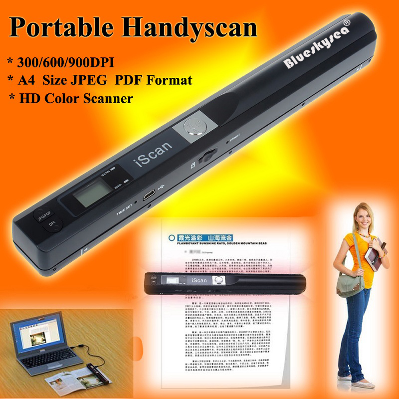 Portable Handheld Scanner Mini Document Image Scanner Support 900dpi