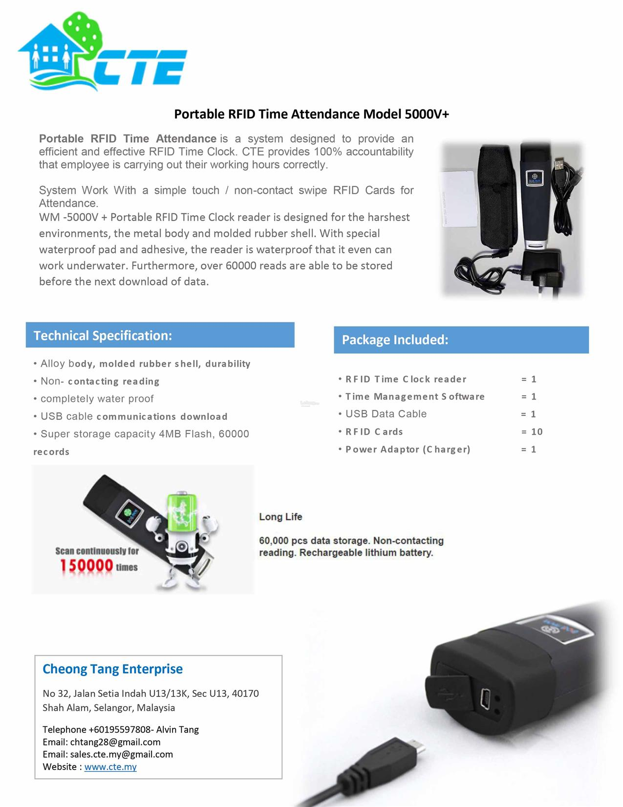 Portable ID Card Time Attendance Device 5000V+ s
