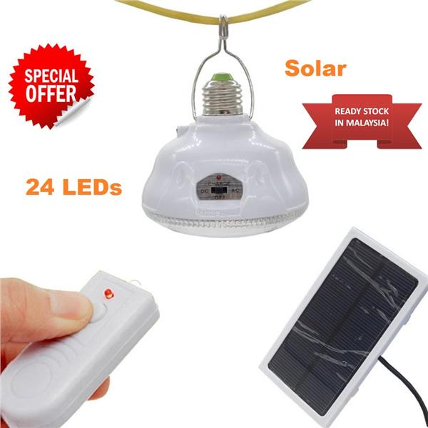 Portable Led Solar Light Bulb 24 Remotecontrol Outdoor Pane