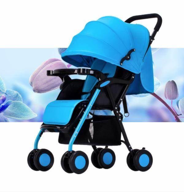 Portable Lightweight Folding Baby Stroller Adjustable Canopy 8 Wheel