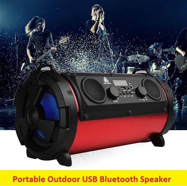 Portable Outdoor Subwoofer USB Bluetooth Speaker Support USB AUX In Mi