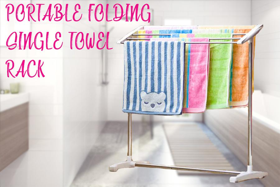 Portable Save Space Mobile Towel Clothes Drying Rack Storage