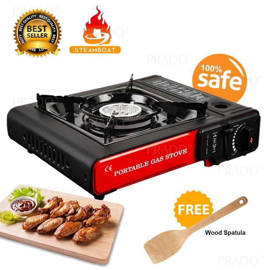 Portable Steamboat Gas Stove Cooking Burner Hob Free Wood Spatula