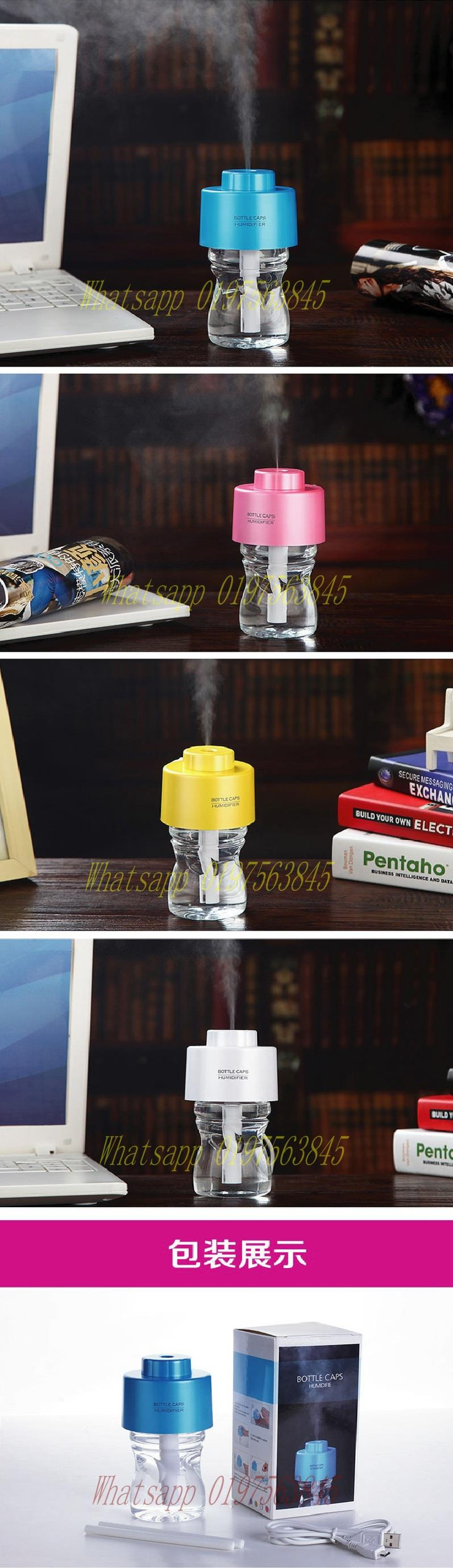 Portable USB Bottle Caps Air Humidifier with Bottle & LED Linght