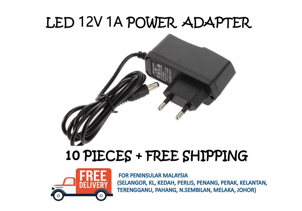 POWER ADAPTER 12V - 1A - 10 PIECES + FREE SHIPPING