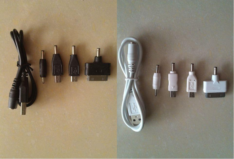 Power Bank cable set, Ipad/Iphone, Samsung, Nokia,MP3/4 charging cable