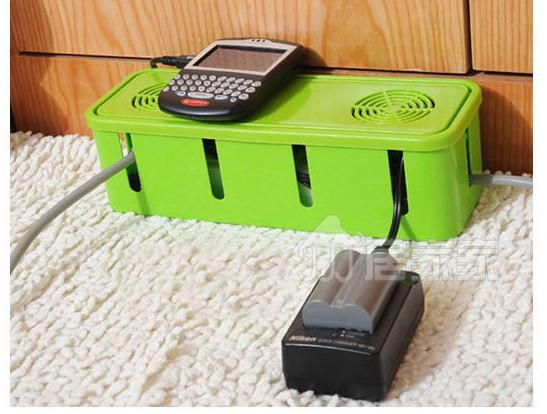 Power Cord Socket Cable Adapter Storage Box Organizer Cooling Hole