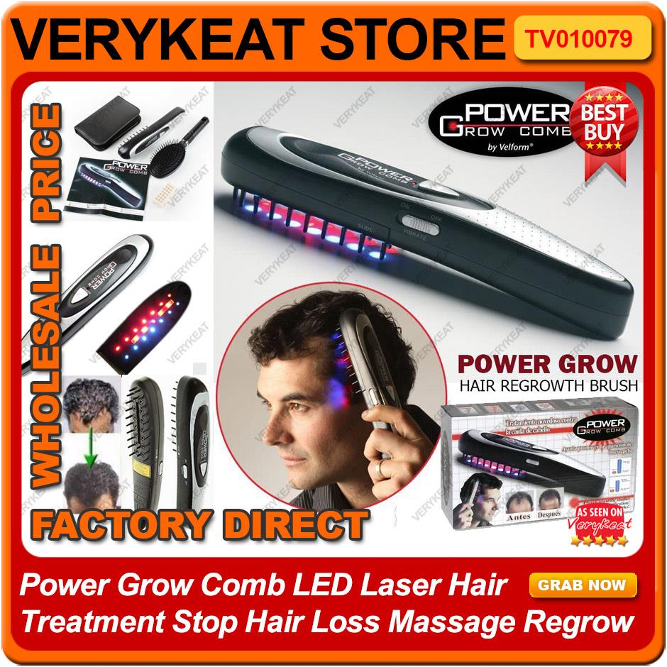 Power Grow Comb LED Laser Hair Treatment Stop Hair Loss Massage Regrow