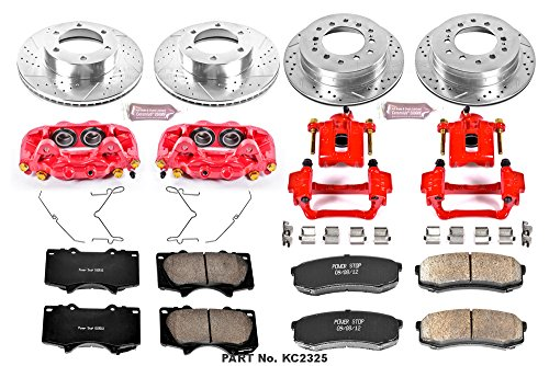Power Stop KC2325 1-Click Performance Brake Kit with Caliper, Front  & Rear